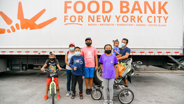 A family at the Food Bank of New York City